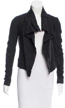 Veda Leather Paneled Draped Jacket