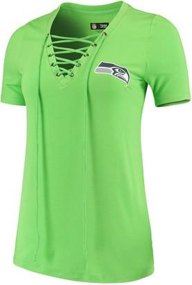New Era Women's Neon Green Seattle Seahawks Lace-Up V-Neck T-Shirt