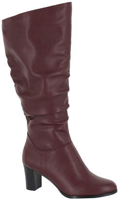 Easy Street Shoes Womens Tessla Stacked Heel Zip Slouch Boots