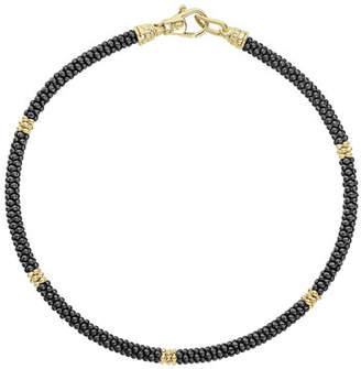 Lagos 3mm Black Caviar & 18K Gold Rope Bracelet