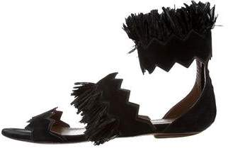 Alaia Straw-Trimmed Suede Sandals