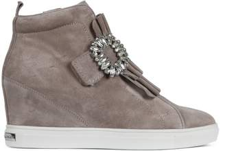 Kennel + Schmenger Kennel & Schmenger Noreen Taupe Suede Jewelled Wedge High Top Trainers