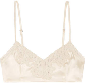 f4ba20cff39e46 Miguelina Bella Cropped Lace-trimmed Silk-charmeuse Top - Ivory