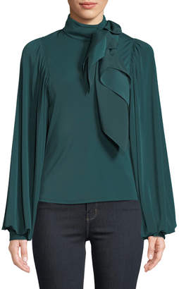 Self-Portrait Self Portrait Jersey Puff-Sleeve Top with Scarf