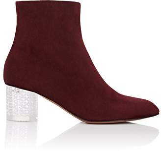 Alaia Women's Acrylic-Glass-Heel Suede Ankle Boots