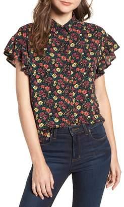 BP Ruffle Sleeve Print Shirt