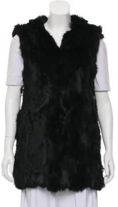 Adrienne Landau Hooded Fur Vest