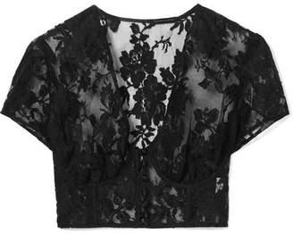 Rosamosario - La Bella Siciliana Cotton-blend Lace Underwired Bra Top - Black