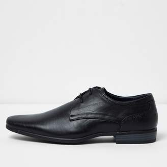 River Island Mens Black pointed formal lace-up shoes