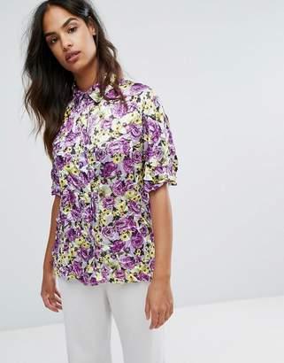 Warehouse Premium Peony Pop Crinkle Shirt