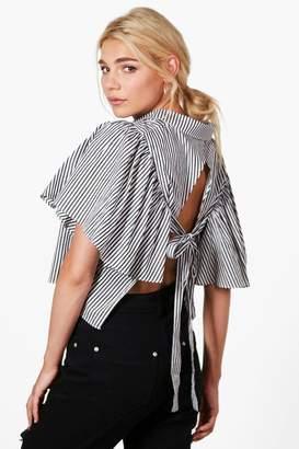 boohoo Anna Open Tie Back Stripe Short Sleeve Shirt black