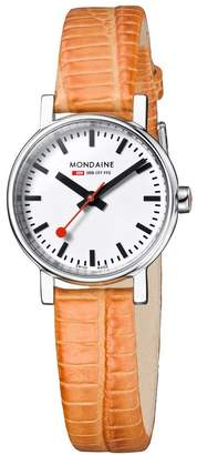 Mondaine Women's 'SBB' Quartz Stainless Steel and Leather Casual Watch, Color:Orange (Model: A658.30301.11SBG)
