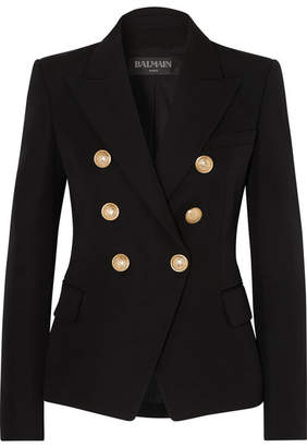 Balmain Double-breasted Wool-twill Blazer - Black