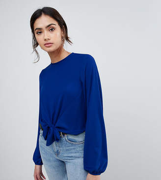 Asos Tall DESIGN TALL Woven Top with Knot Front