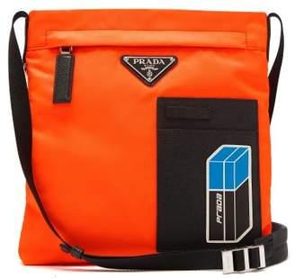 Prada Logo Plaque Nylon Cross Body Bag - Mens - Orange Multi