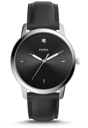 Fossil The Minimalist Carbon Series Three-Hand Black Leather Watch