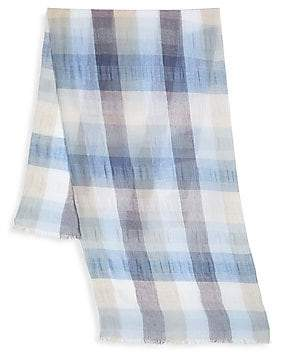 Saks Fifth Avenue Large Lightweight Scale Plaid Scarf