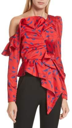 Self-Portrait Azalea Print Ruffle Detail One-Shoulder Top