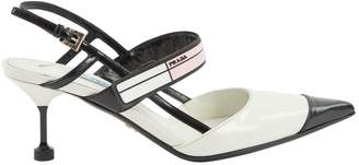Prada White Leather Heels