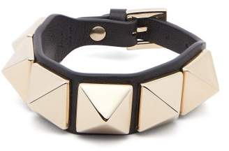 Valentino Large Rockstud Leather Bracelet - Womens - Black