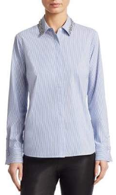 Saks Fifth Avenue COLLECTION Embellished Cotton Poplin Shirt
