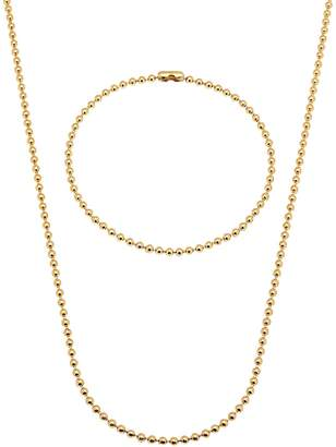 """Factory The Bling 2mm Gold Plated Ball 22"""" Chain & 8"""" Bracelet Set"""