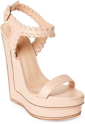 Giuseppe Zanotti Whipstitch Leather Platform Wedge Sandals