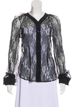 Philosophy di Alberta Ferretti Long Sleeve Lace Top