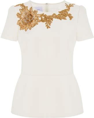 Marchesa Floral-Embroidered Peplum Top