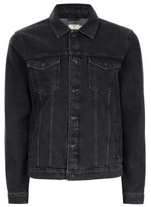 Topman Mens Washed Black Denim Jacket