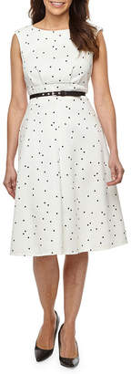 Liz Claiborne Sleeveless Polka Dot Fit & Flare Dress