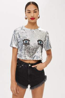 Topshop Moondreamers Sequin Eyes Crop T-Shirt by Moon Dreamers