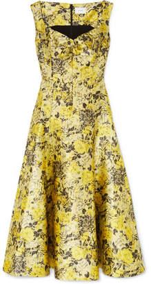 Erdem Verna Floral-jacquard Midi Dress - Yellow