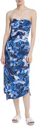 Michael Kors Strapless Tie-Waist Floral-Print Draped Silk Dress