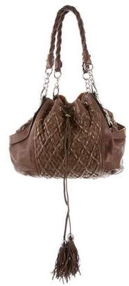Zac Posen Woven Leather Drawstring Tote