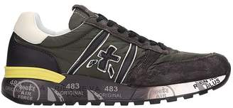 Premiata Lander Brown Leather And Fabric Sneakers