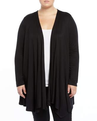 Joan Vass Plus Inverted-Pleat Cascading Open-Front Cardigan, Plus Size