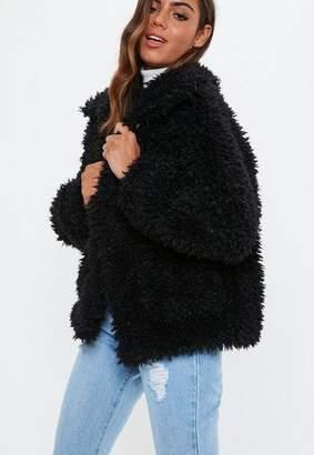 Missguided Black Oversized Boxy Shaggy Borg Teddy Jacket