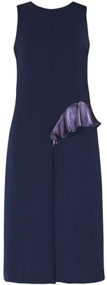 Paisie Jumpsuit With Asymmetric Side Frill With Self Belt In Navy