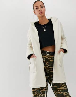 In The Style faux shearling and suede longline hoodied coat