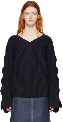 Stella McCartney Navy Scalloped V-Neck Sweater