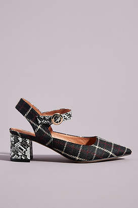 Matiko Mary Jane Plaid Slingback Heels