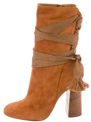Chloé Suede Wrap-Around Ankle Boots