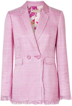 Emilio Pucci Fringed Houndstooth Woven Blazer - Pink