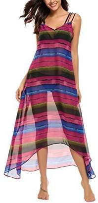 SE MIU Women Casual Sleeveless Print V Neck Chiffon Robe Beach Cover Up Dress