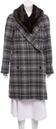 Thakoon Wool Fur-Trim Knee-Length Coat