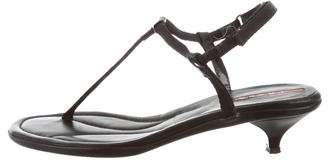 Prada Sport Ankle Strap Patent Leather-Trimmed Sandals