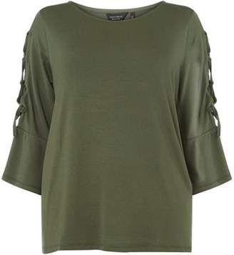 Dorothy Perkins Womens **DP Curve Khaki Lattice Sleeve T-Shirt