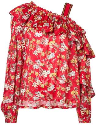 Derek Lam 10 Crosby One-Shoulder Ruffle Bouquet Floral Print Silk-Blend Jacquard Blouse