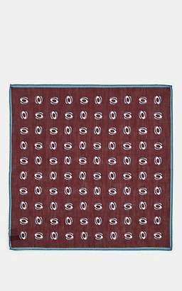 Bigi Men's Oval-Pattern Linen-Cotton Pocket Square - Red
